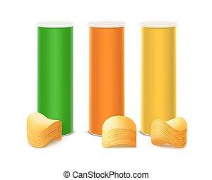 set, container, gekleurde, aardappelchips, stapel