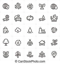 set, contorno, -, illustrazione, ambiente, colpo, vettore, icona