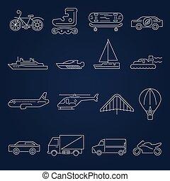 set, contorno, trasporto, icone