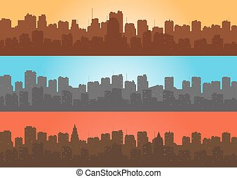 Set, contour of city with a differe