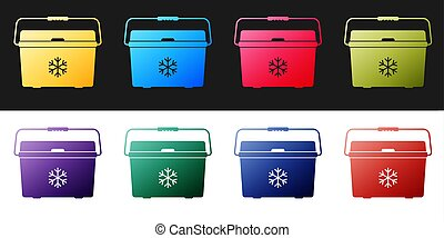 Set Cooler bag icon isolated on black and white background. Portable freezer bag. Handheld refrigerator.  Vector