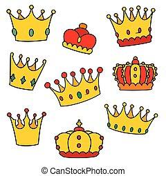 set, corona, isolato, vettore, fondo, bianco