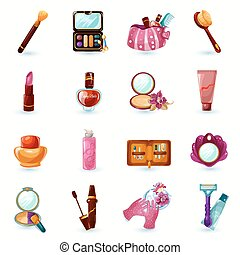 set, cosmetica, icone