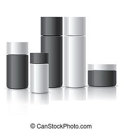 set, cosmetico, contenitori, vuoto