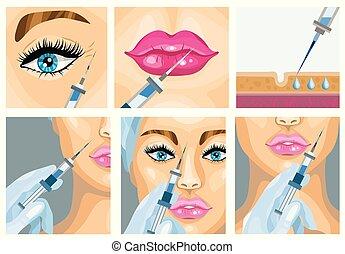 set., cosmetico, illustrazione, vettore, iniezione, botox, ...