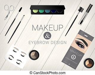 set, cosmetico, sopracciglio, accessori, disegno, trucco