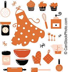 set, cottura, icone, ), (, accessori, isolato, arancia, bianco, o