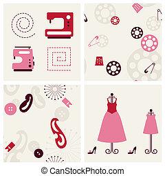 set., couture, arrière-plans, objets