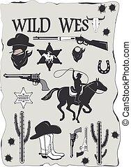 set, cowboy, west, communie, ontworpen, wild