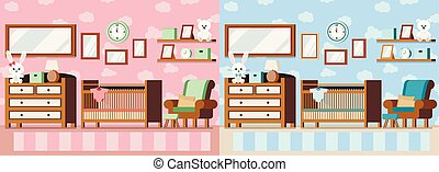 Set cozy baby room interior pink for girl and blue for boy vector interior scene illustration.
