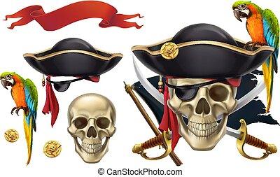 set, cranio, parrot., emblem., vettore, 3d, pirata, icona