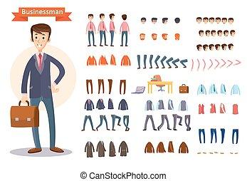 set, creare, carattere, vettore, uomo affari, uomo, cartone animato