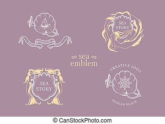 Set creative marine emblem, the mermaid and shell with a shield