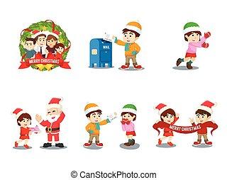 set, cristmas, gezin, spotprent