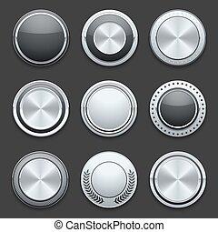 set, cromo, metallo, bottoni, vettore, argento
