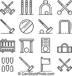 set croquet, stile, contorno, icone