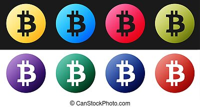 Set Cryptocurrency coin Bitcoin icon isolated on black and white background. Physical bit coin. Digital currency. Blockchain based secure crypto currency.  Vector
