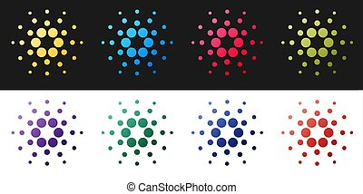 Set Cryptocurrency coin Cardano ADA icon isolated on black and white background. Digital currency. Altcoin symbol. Blockchain based secure crypto currency. Vector