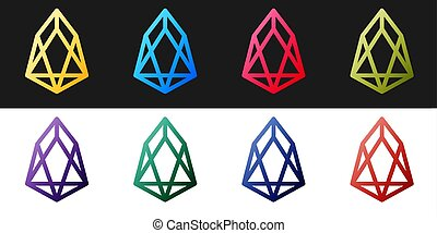 Set Cryptocurrency coin EOS icon isolated on black and white background. Physical bit coin. Digital currency. Blockchain based secure crypto currency. Vector