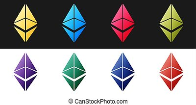 Set Cryptocurrency coin Ethereum ETH icon isolated on black and white background. Digital currency. Altcoin symbol. Blockchain based secure crypto currency.  Vector.