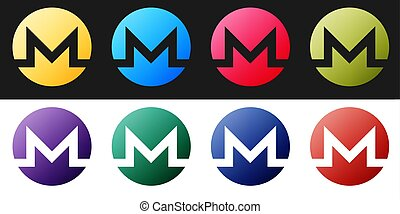 Set Cryptocurrency coin Monero XMR icon isolated on black and white background. Digital currency. Altcoin symbol. Blockchain based secure crypto currency. Vector.