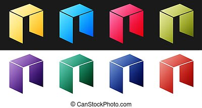 Set Cryptocurrency coin NEO icon isolated on black and white background. Physical bit coin. Digital currency. Blockchain based secure crypto currency. Vector