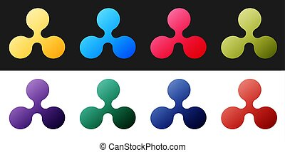 Set Cryptocurrency coin Ripple XRP icon isolated on black and white background. Digital currency. Altcoin symbol. Blockchain based secure crypto currency. Vector.