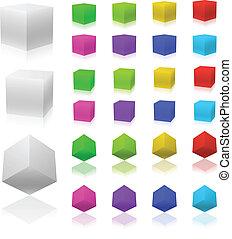 set, cubi, colorare, isolato, fondo., vettore, bianco, 3d