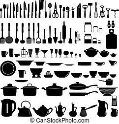 set, cucina, untesils