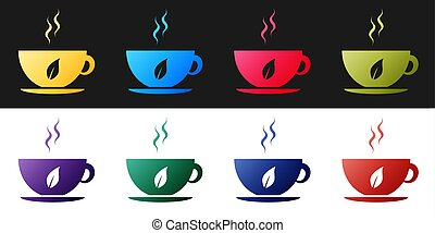 Set Cup of tea and leaf icon isolated on black and white background. Vector