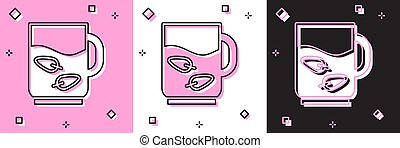 Set Cup of tea and leaf icon isolated on pink and white, black background. Vector