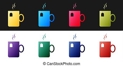 Set Cup of tea with tea bag icon isolated on black and white background. Vector