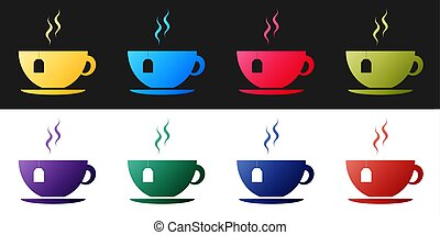 Set Cup with tea bag icon isolated on black and white background.  Vector