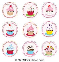 set, cupcake