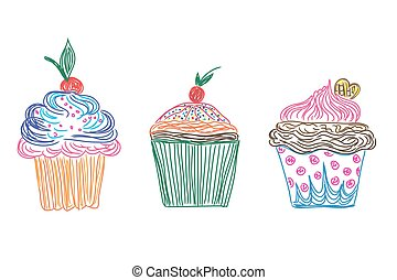 Set, cupcakes icons in doodle style