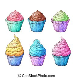 Set cupcakes. Vector illustration of hand drawing