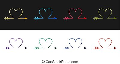 Set Cupid arrow heart, Valentines Day cards icon isolated on...