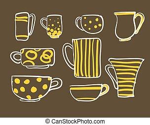 Set cups vector - Set icons tea coffee cups vector...