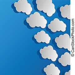 Set cut out clouds, blue paper