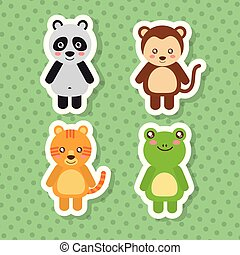 set cute animals wildlife fauna polka dots green background