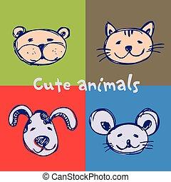 Set cute animals