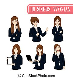 Set Cute Business Woman Cartoon Character.