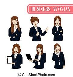 Set Cute Business Woman Cartoon Character.