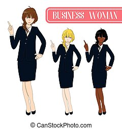 Set Cute Business Woman Pointing Up with Serious Face.