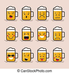 Set cute flat design glass of beer character with different facial expressions, emotions. Collection of emoji isolated on color background.