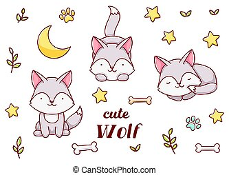 Set cute kawaii hand drawn wolf doodles, isolated on white background, clipart