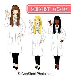 Set Cute Scientist Woman Showing OK Hand Sign. Medical Staff Female.