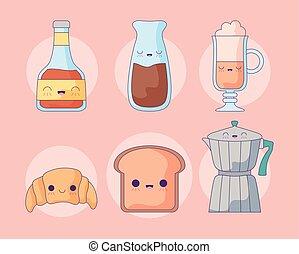 set cute teapot with icons kawaii style