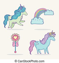 set cute unicorns with rainbow and clouds