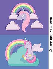set cute unicorns with rainbow of fairy tale